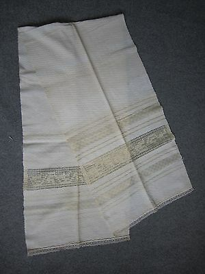 Beautiful Antique Hand Woven Embroidered  Towel Lace Large