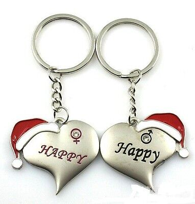 FD1084 Christmas Red Hat Lover Keychain Keyring Keyfob Key Ring  ~1 Pair 2pcs :)
