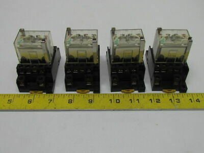 Omron LY4N 24VDC 14 Pin Relay w/Safty Clips On No 1078HP Base Lots of 4