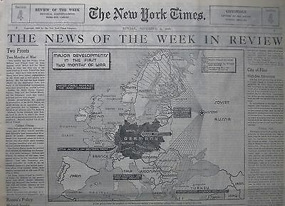 11-1939 WWII November 5 FINLAND BALTIC RUSSIA USA EMBARGO POLAND TURKEY NY Times