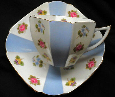 SHELLEY pastel blue QUEEN ANNE ROSE CHINTZ  TEA CUP AND SAUCER