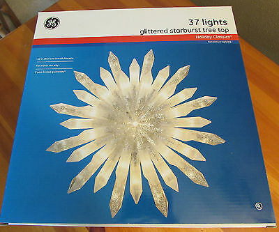 GE Christmas Star Tree Topper, Glittered Star Tree Top, 37 Lights, New in Box