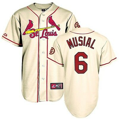 Stan Musial St Louis Cardinals Alternate Ivory Jersey w/ Comm. Patch Men's