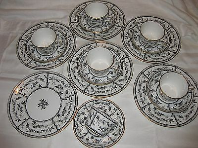 Tiffany & Co BLACK BAMBOO LUNCHEON SET for 6 Hammersley England 18pc Estate EXC!