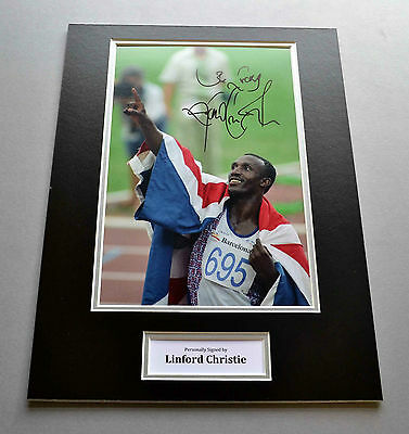 Linford Christie Signed 12x16 Photo Display Olympic Sprinter Memorabilia + COA