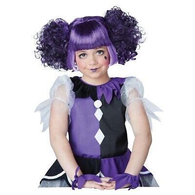 Gothic Dolly Wig Kids Purple Harlequin Doll Jester Halloween Costume Fancy Dress