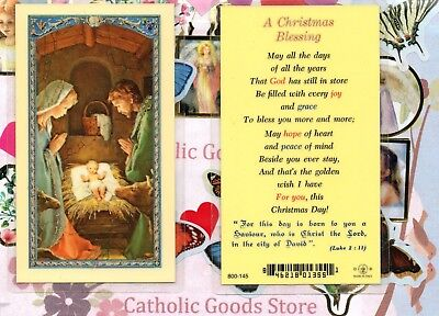 Nativity / front -  A Christmas Blessing / back - Laminated  Holy Card