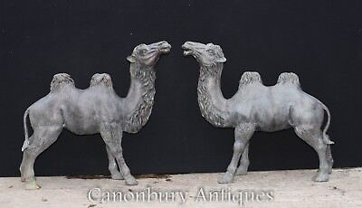 Pair French Bronze Camel Statues Arab Casting