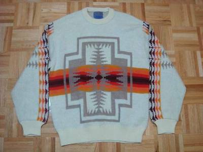 Vintage Pendleton Indian Pattern Wool Sweater Sz Large Minty