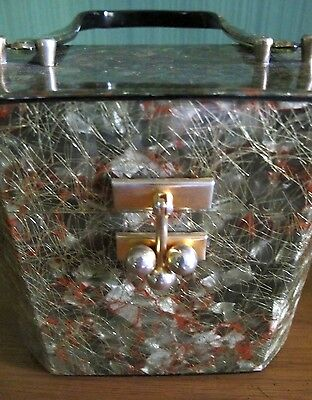 Lucite Purse, Green Marble with Gold Threads. 1950's Vintage Lucite.