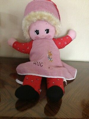 """Vintage 1983 """"Happiness Aid is a Toy by Well-Made"""" Red Hug Me Doll"""