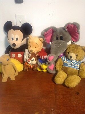 Lot of Vintage Stuffed Animals..Mickey Mouse ..Alvin, ET, Babys Pooh.....