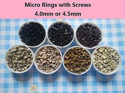 1000pcs Micro Rings Screws Thread for Hair Extensions Beads