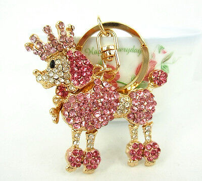 Crown Poodle Dog Lovely Cute Swarovski Crystal Pendent Purse Bag Key Chain Gift