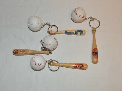 Vintage Baseball Bat and Ball Keychains Braves Angels Astro's and Reds Set of 4