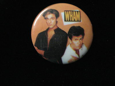 Wham-George Michaels-Rock-Andrew Ridgeley-Gold-Pin Badge Button-80's Vintage