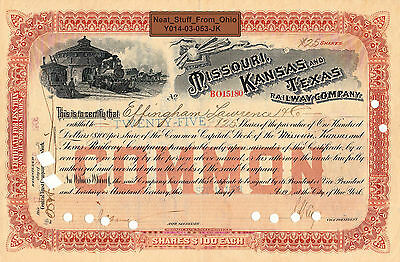 MISSOURI, KANSAS and TEXAS RAILWAY CO. STOCK CERTIFICATE, LOTS OF NAMES, c1908