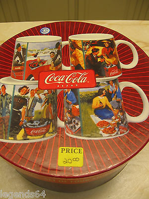 Coca Cola Set Of Four Stoneware Mugs - Tailgating - Nib