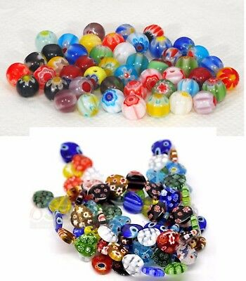 50 x Glass Millefiori Beads - Choose Shape and Size