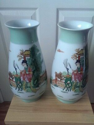 """A massive pair of Chinese figural vases15"""" mark to base"""