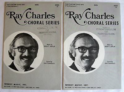THAT RAGTIME PIANO MAN / THE ENTERTAINER SATB Ray Charles Scott Joplin Lot of 2