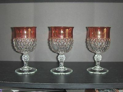 Vintage Ruby Red Stained & Crystal Diamond Point Goblet SET OF 3