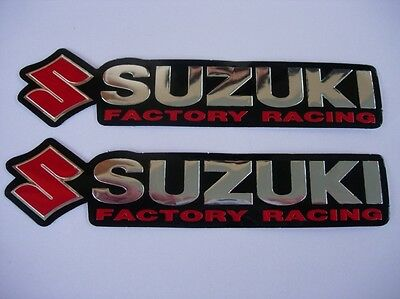 3D red / chrome SUZUKI stickers decal - set of 2 pieces