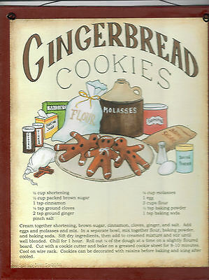 "Rustic Primitive Country Vintage 9x11"" GINGERBREAD COOKIE Recipe KITCHEN Sign"