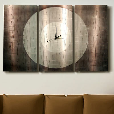 Silver Abstract Contemporary Metal Wall Clock Art - Dynamic Onyx - Jon Allen