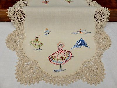 Vintage Linen Traycloth-Hand Embroidered Ballerina's-Irish Crochet Edge