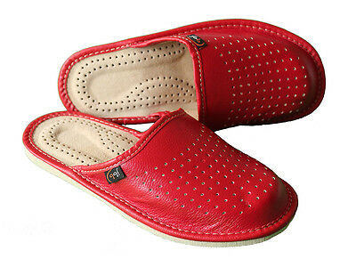 Womens Red 100% Natural Leather Slippers Mules Slip On Moccasin Size 3 4 5 6 7 8