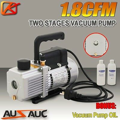 1.8CFM 2 Stages Refrigerant Vacuum Pump Refrigeration Gauges Tools Air Condition