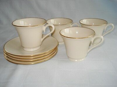 4 Lenox Cup & Saucer Sets Traditional Ivory & Gold Special USA