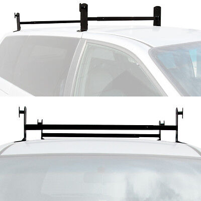 2 Universal Steel Roof Van Mount Rack Mounted Gutterless Ladder Cross Bar Black