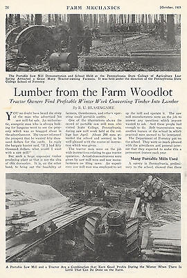 1925 LUMBER FROM THE FARM WOODLOT PORTABLE SAW MILL SAWMILL ARTICLE