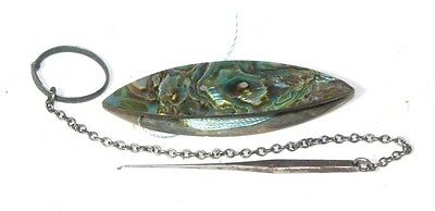 ABALONE SHUTTLE w/ Silk Thread & VICTORIAN Tatting Chatelaine Tool c1800 ANTIQUE