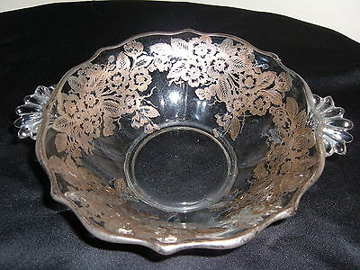 ANTIQUE FOSTORIA BAROQUE CRYSTAL BOWL FLORAL STERLING SILVER OVERLAY FAN HANDLE