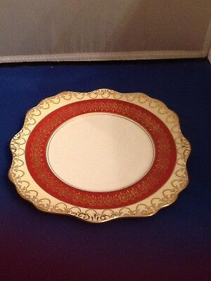 VINTAGE ROYAL STAFFORD ENGLAND BONE CHINA RED & GOLD SALAD LUNCHEON PLATE