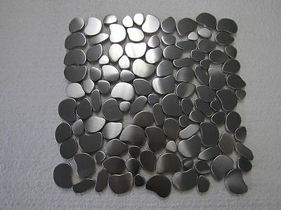 5 FULL SHEETS = 5 SQ/F STUNNING Stainless Steel Pebbles Mosaic Tiles on Mesh