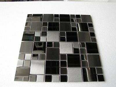 5 FULL SHEETS = 5 SQ/F STUNNING Stainless Steel Mosaic Tiles on Mesh
