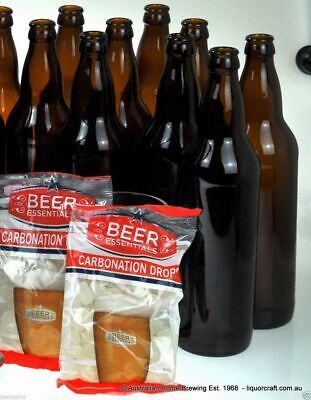 750ml Amber Glass Beer Bottle x 24 & Carbonation Drops x 2 home brew bottles