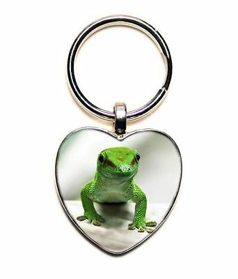 Green Gecko Silver Heart Shaped Photo Keychain // Exotic Pets