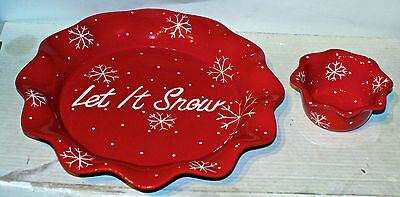 """Made Exclusively For Home & Garden Party """"Let It Snow, Chip & Dip Set"""" Stoneware"""