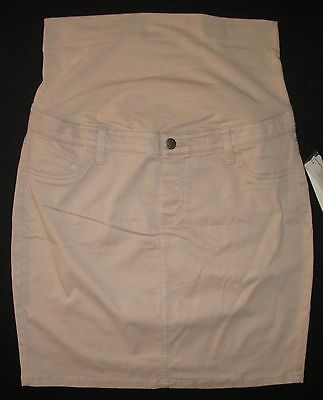 Maternity Skirt Casual Beige Knee Length Cotton Adjust Waist 10 12 14 18 20 NEW