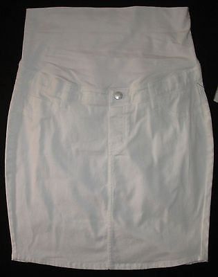 Maternity Casual White Knee Length Skirt Adjustable Waist Size 10 12 14 18 20