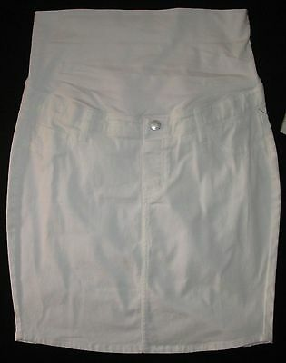 Maternity Skirt Casual White Knee Length Adjustable Waist Size 10 12 14 18 20
