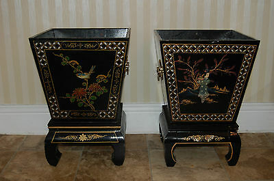 STUNNING PAIR ORIENTAL/ CHINESE JAPANNED PLANTERS WITH GEISHER GIRLS DESIGN