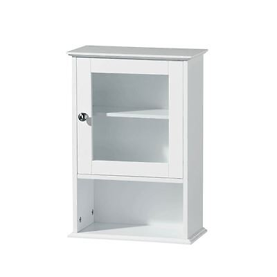 White Wooden Wall Mounted Bathroom Storage Cabinet With Glass Door Brand New