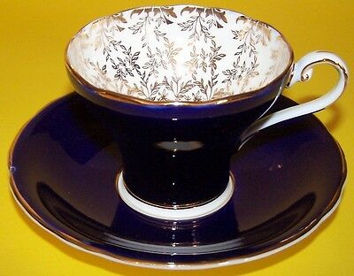 AYNSLEY COBALT BLUE FANCY CORSET WAIST CUP AND SAUCER WITH GOLD OVERLAY