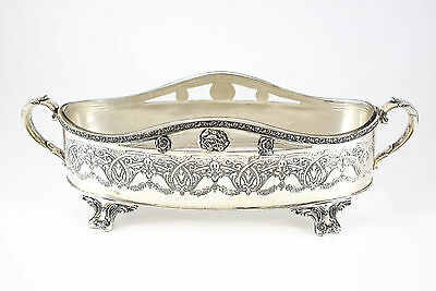 Hand Engraved Silverplate Etched Glass Centerpiece by Wallace Bros Silver Co.